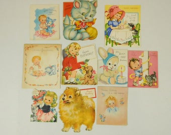 Lot of 10 Used Vintage 1940s and 1950s Birthday Holiday Children's Kids Greeting Cards Ephemera Crafting Framing Decor Ornaments
