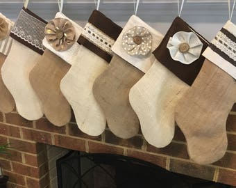 Classic Cream Burlap Stocking, WITHOUT name tag, Personalized Burlap Stocking