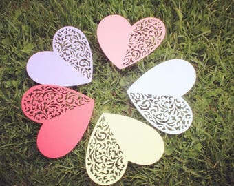 30 pieces White Hearts Die Cut, White Paper HEARTS, Paper confetti, HEARTS for scrapbooking, Party décor, Wedding table décor
