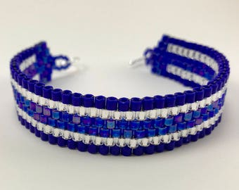 Cobalt Blue and Silver Peyote Stitch Glass Beaded Cuff Bracelet