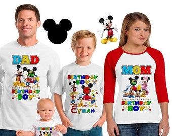 15% Off Mickey Mouse Clubhouse inspired family birthday theme shirt/mickey mouse birthday shirt/Disney vacation shirt/mickey birthday party