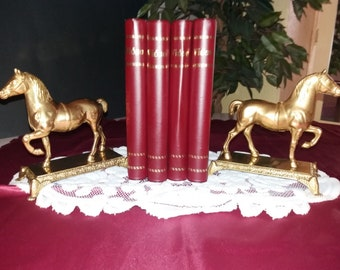 Vintage Pair of Brass Horse Figurines / Bookends, 1960s