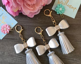 Silver Bow Tassel Keychain