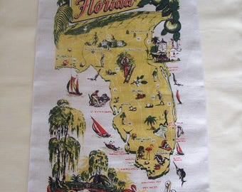 Kay Dee Hand Prints Florida Points of Interest Linen Towel/Wall Hanging. Vintage