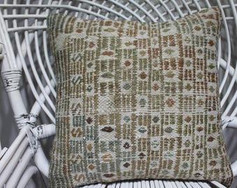 16x16 decorative kilim pillow embroidered pillow turkish pillow kelim cussion boho pillow white pillow vintage kilim pillow 3969