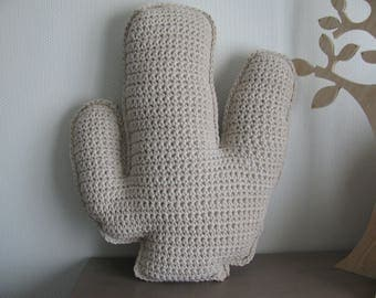 cactus pillow completely handmade crocheted in 100% cotton