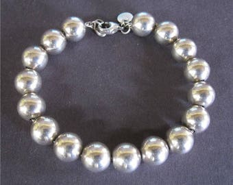 "Tiffany & Co Sterling Silver 10mm Ball Bead Bracelet 7 1/2"" to 7 3/4"" Box (1137)"