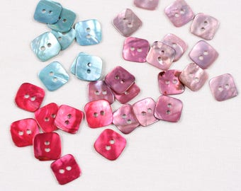 6 square buttons, mother of Pearl shiny, 12mm, aqua, pink, pink fushia 2trous (60551 am) or medium