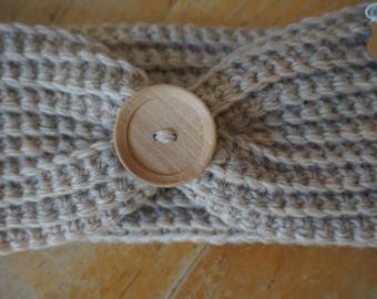 100% wool gray handband ear warmer with wooden button, gray ear warmer, gray headband, wool ear warmer