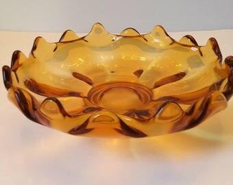 Viking Amber Sixteen Petal Footed Bowl