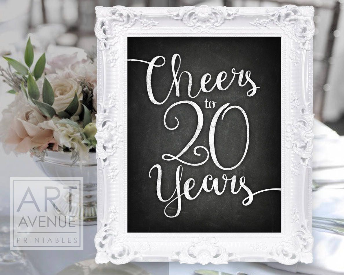 chalkboard chic printables cheers to 20 years chalk party sign