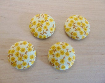 x 4 cabochons 20mm yellow ref TOUR8 flowers fabric