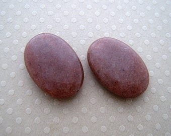Set of 2 Brown dyed jade beads 18 x 25 mm - PJO - 0653
