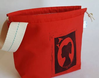 I am no bird - Jane Eyre silhouette handprinted project bag