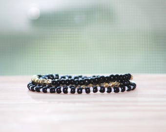 Beaded Multi Wrap Bracelet - Black, White, and Gold Bracelet - Elastic Bracelet- Seed Beads
