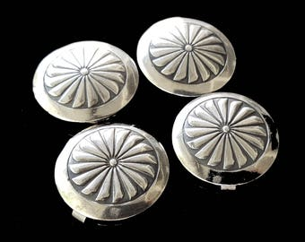 4 silver CONCHO BUTTON COVERS, vintage Navajo, Native American decorative button covers / southwest cowboy dress shirt blouse