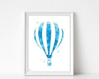 Hot air balloon poster, print hot air balloon, watercolor balloon balloon painting gift idea, wedding, anniversary gift