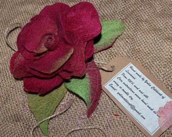 Hand Felted Flower Brooch Red Rose