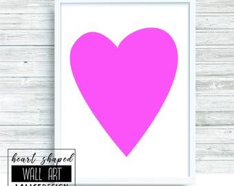 Pink Heart Shaped nursery printable wall art - A3 size - home decor