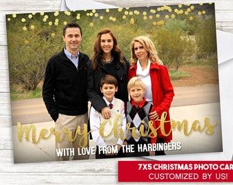 Christmas Photo Card 7x5 Digital Gold Confetti Holidays Simple Family Greeting Card