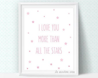 Baby girl room wall art, pink nursery decor, scandinavian nursery wall art, Printable star, I love you more #0033P