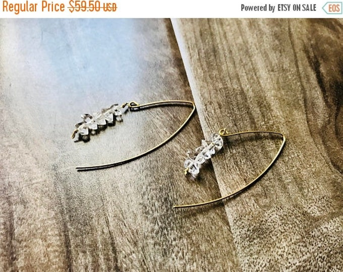 CLEARANCE SALE Herkimer Diamond Cocktail Threader Earrings
