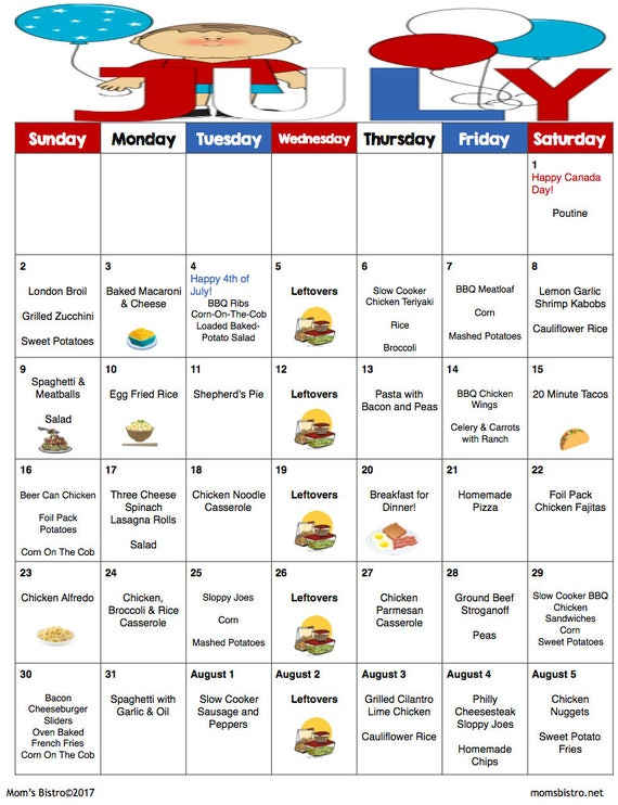 July Meal Plan | July Menu Plan | Weekly Grocery List w/ Recipes |  Monthly Menu | Grocery List | 4th of July  | Canada Day | Budget Menu
