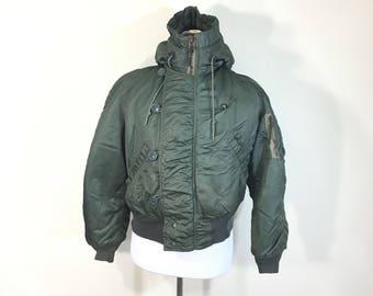 70's vintage N-2B flight bomber jacket hooded coat military size M