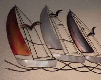 3 hand-painted steel sailboats Large wall decoration Creation artisanale Original gift Boat series
