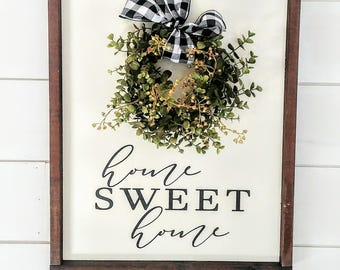 Home Sweet Home Wreath Sign - Home Sweet Home Painted Wood Sign - Wood Sign with Wreath - Wreath Sign
