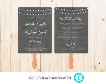 Chalkboard Wedding Program,Printable Ceremony Template, Wedding Program Printable, Instant Download,Fully Editable