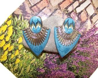 Vintage Blue Enamel Ethnic Egyptian Style Clip Earrings,1980's,Bohemian Earrings, Vintage Enamel Earrings, Ethnic Jewelry, Costume Jewlery
