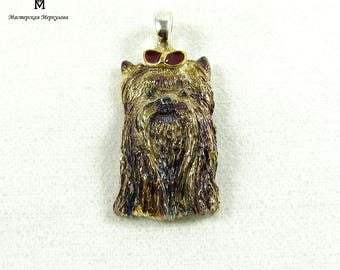 "Handmade Sterling Silver 925 Pendant ""Yorkshire Terrier"" with gold platation , black rhodi and red enamel"