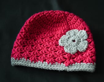 Pink and gray 0/6 months hat for girl