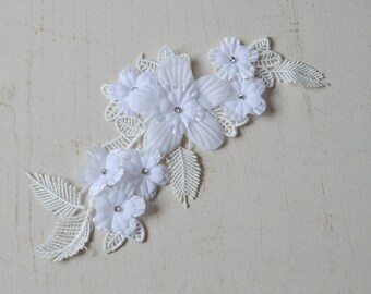 1 lace 3D white lace with Pearl rhinestone applique