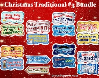 Christmas Photo Booth Props | Christmas Signs | Christmas Traditional #3 Bundle | Christmas Prop Signs | Christmas Props