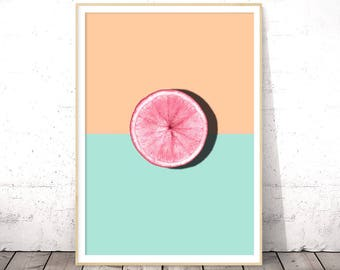 Pastel Pink Wall Art, Modern Kitchen Poster, Tropical Fruit Decor, Dining Room Wall Art Prints, Printable Women Gift, Large Grapefruit Art
