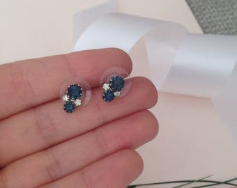 Blue Earrings - Elegant Earrings - Blue Jewelry - 90s Earrings - Small Earrings - Dainty Earrings - Vintage Earrings - Wife Gift - Christmas