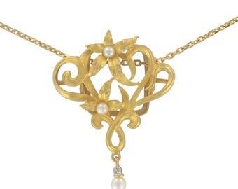 Old beads chain yellow gold 18K Art nouveau classic Belle epoque