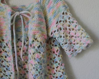 Toddler Girl's Handmade Vintage Spring Summer Acrylic Yarn Cardigan