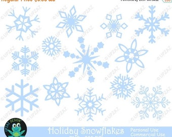 75% OFF SALE Pastel Blue Snowflake Clipart, Commercial Use - UZ833