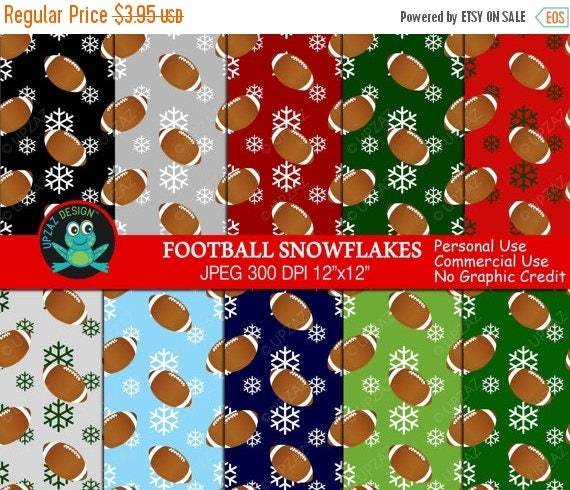 75 Off Sale Christmas Football Digital Paper Commercial Use