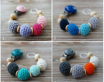 Pacifier chain without a name in bold colors, crocheted