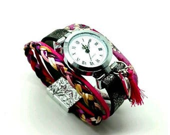 Faux/leather cuff watch hand made by LesBijouxdeKarine