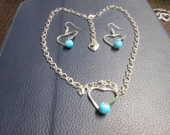 Silver heart with silver chain necklace and Earring matching turquoise glass bead