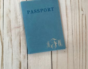 Monogrammed Light Blue Passport Holder, Light Blue Passport cover