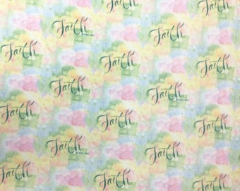 "Fleece Fabric Christian Religious Inspirational Faith Fleece Fabric Anti Pilling Polyester 60"" Wide 8083"