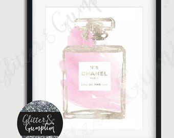 Fashion Perfume Faux Silver Foil bottle blush beauty room print Modern Design decor Fashion wall art Vogue decor