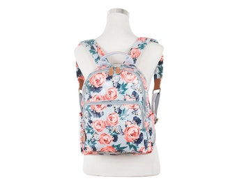 Ipad Rose butterfly Backpack, Ladies backpack, Teen girl butterfly rucksack, Oilcloth backpack, oil cloth laminated cotton, water resistant