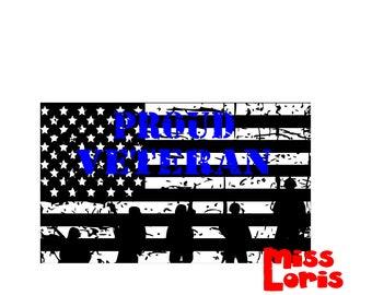 Proud Veteran   FLAG Distressed  SVG dfx Cut file  Cricut explore file t shirt decal Army  military